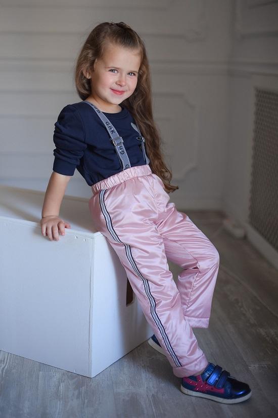 розовые утепленные брюки для девочки
