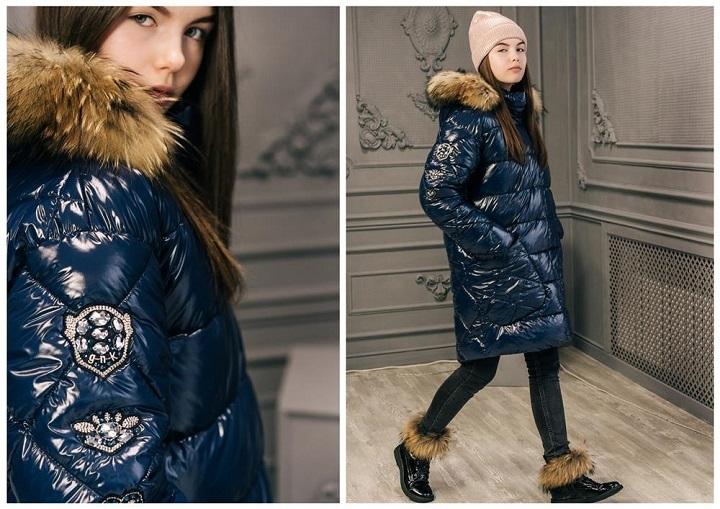 лаковое зимнее пальто для девочки gnk фото