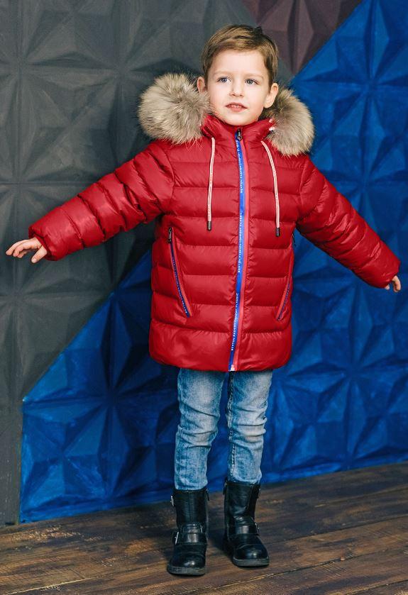 красная куртка для мальчика З-829 фото