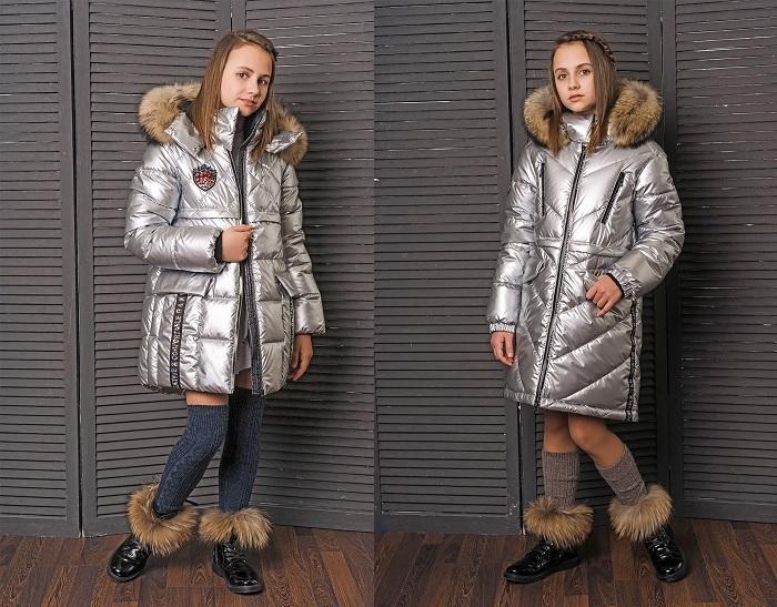 серебряные зимние пальто для девочек gnk фото