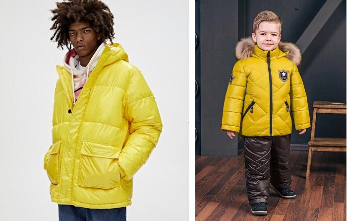 желтая куртка для взрослого и мальчика фото