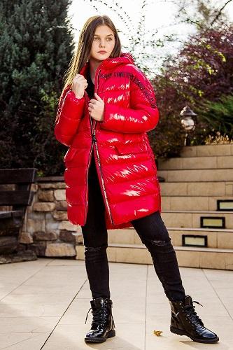 Пальто для девочки С-685 красная