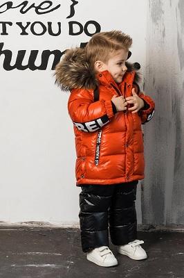 зимний костюм для мальчика красный