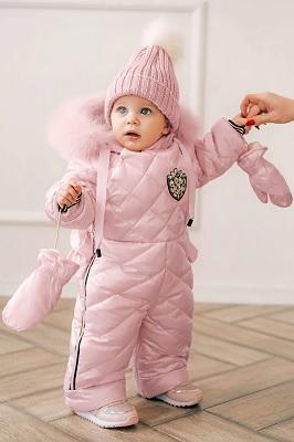 детский зимний комбинезон для девочки gnk и шапка